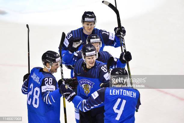 Harri Pesonen of Finland celebrates scoring a goal during the 2019 IIHF Ice Hockey World Championship Slovakia group A game between Finland and...