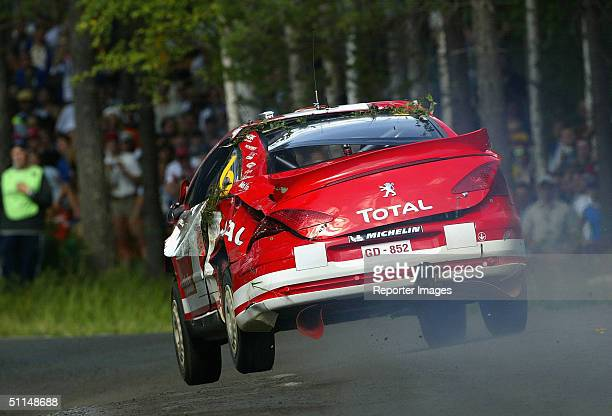Harri Rovanpera and Risto Pietilainen of Finland in action in the Peugeot 307 during Leg 1 of the WRC Neste Rally Findland 2004 on August 6 2004 in...