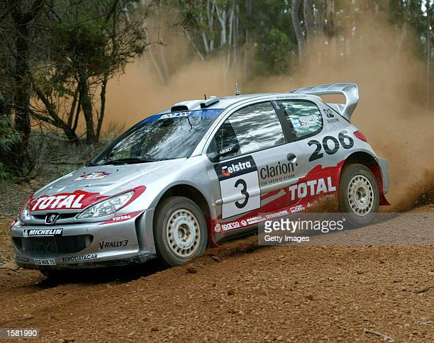 Harri Rovanpera of Finland and the Peugeot 206 WRC team in action during the shakedown of the Rally of Australia the thirteenth round of the World...