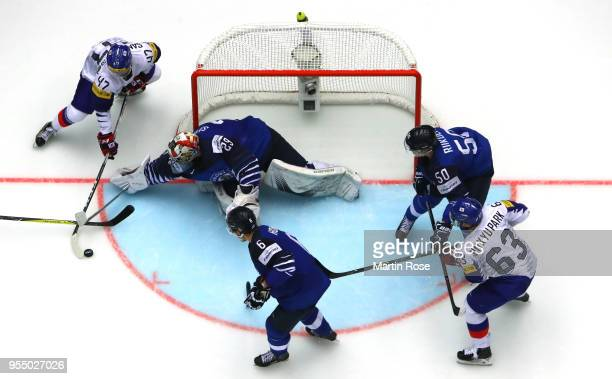 Harri Sateri goaltender of Finland tends net against Korea during the 2018 IIHF Ice Hockey World Championship group stage game between Finland and...