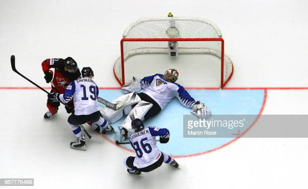 Harri Sateri, goaltender of Finland tends net against Ryan Nugent Hopkins of Canada during the 2018 IIHF Ice Hockey World Championship Group B game...
