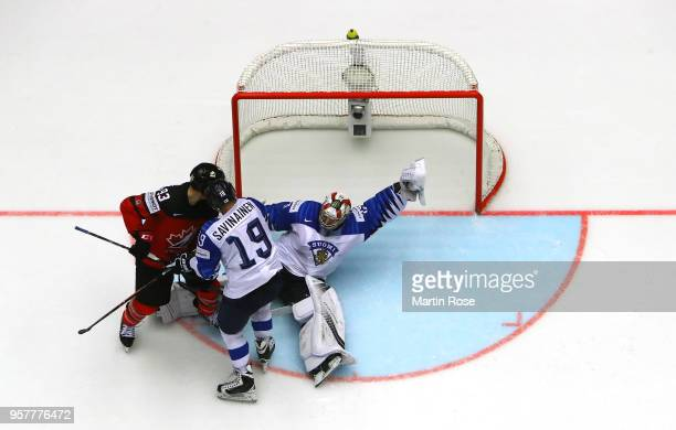 Harri Sateri goaltender of Finland tends net against Ryan Nugent Hopkins of Canada during the 2018 IIHF Ice Hockey World Championship Group B game...