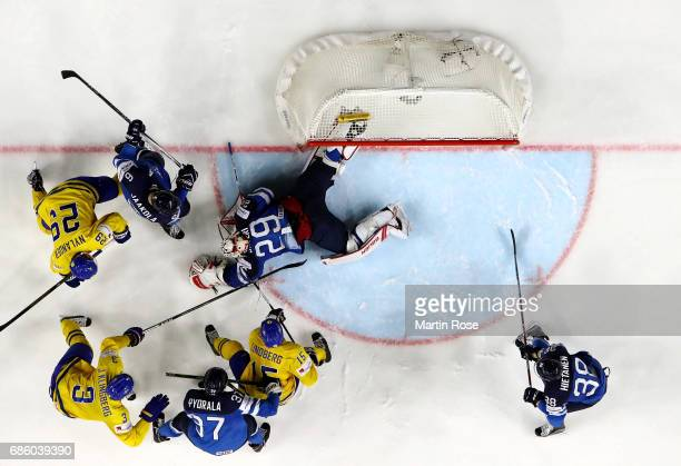 Harri Sateri goaltender of Finland tends net against Sweden during the 2017 IIHF Ice Hockey World Championship semi final game between Sweden and...