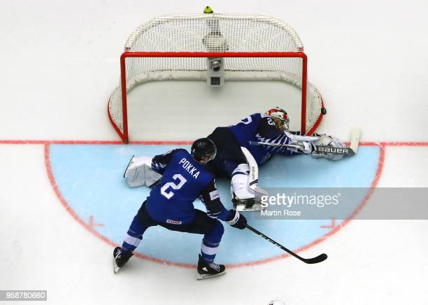 Harri Sateri goaltender of Finland tends net against the United States during the 2018 IIHF Ice Hockey World Championship Group B game between...