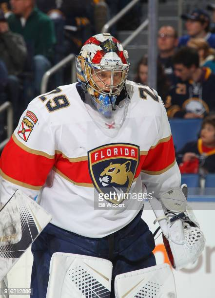 Harri Sateri of the Florida Panthers heads to the net during an NHL game against the Buffalo Sabres on February 1 2018 at KeyBank Center in Buffalo...