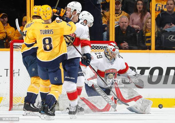 Harri Sateri of the Florida Panthers makes a save against the Nashville Predators during an NHL game at Bridgestone Arena on January 20 2018 in...