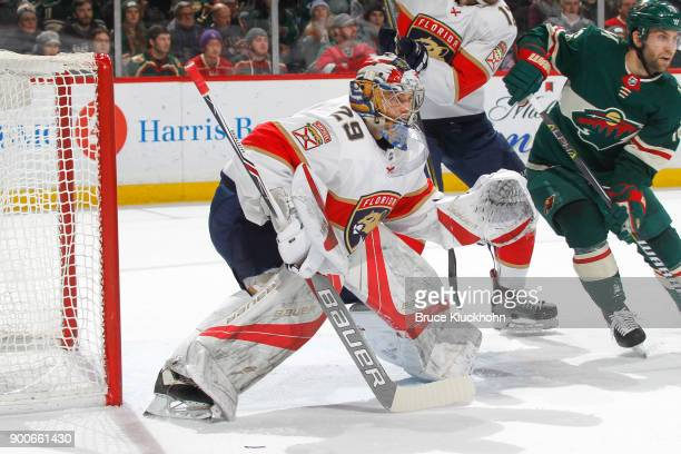 Harri Sateri of the Florida Panthers plays in his first career NHL game against the Minnesota Wild at the Xcel Energy Center on January 2 2018 in St...