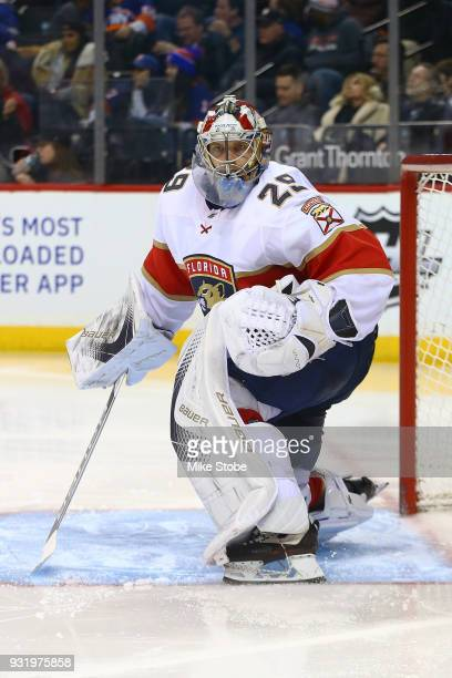 Harri Sateri of the Florida Panthers skates against the New York Islanders at Barclays Center on January 30 2018 in New York City Florida Panthers...