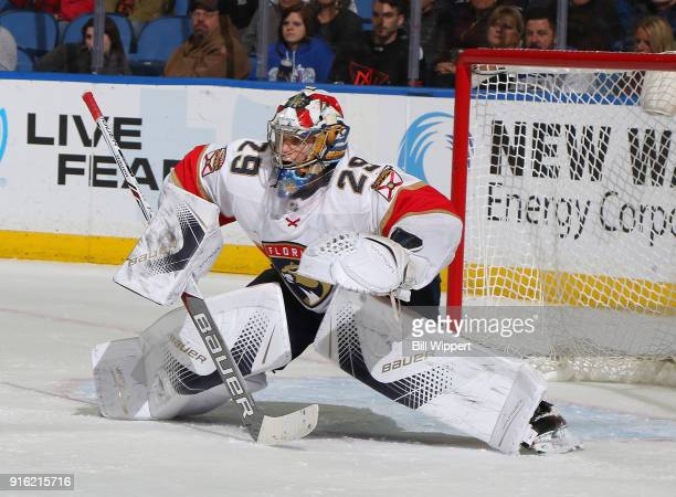 Harri Sateri of the Florida Panthers tends goal during an NHL game against the Buffalo Sabres on February 1 2018 at KeyBank Center in Buffalo New York