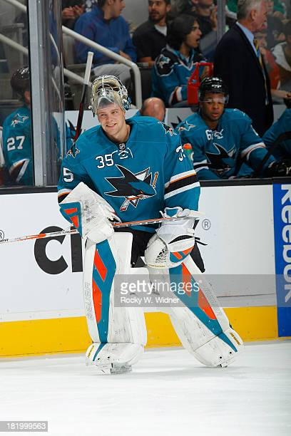 Harri Sateri of the San Jose Sharks warms up against the Phoenix Coyotes during a preseason NHL game at SAP Center on September 21 2013 in San Jose...