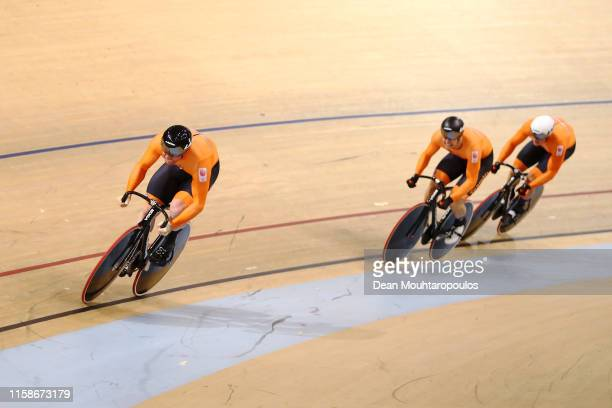 Harrie Arnoldus Johannes Lavreysen Nils van 't Hoenderdaal and Jeffrey Joshua Gerardus Hoogland of the Netherlands compete and win the gold medal in...