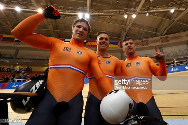 Harrie Arnoldus Johannes Lavreysen Nils van 't Hoenderdaal and Jeffrey Joshua Gerardus Hoogland of the Netherlands celebrate after they compete and...