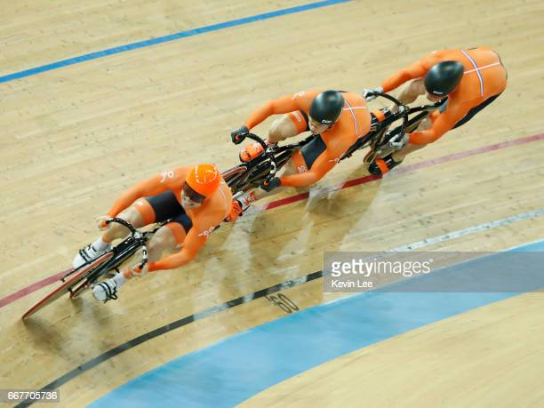 Harrie Lavreysen Jeffrey Hoogland and Matthijs Buchli of Netherlands compete for the Gold during the Men's Team Sprint Final on day one of the 2017...