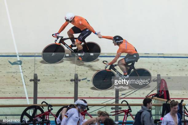 Harrie Lavreysen Jeffrey Hoogland Men`s team sprint Sprint during day 2 of Track Cycling World Cup Pruszkow 2017 in Pruszkow on November 5 2017