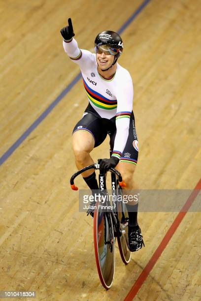 Harrie Lavreysen of Netherlands celebrates winning the gold medal in the Mens Team Sprint during the track cycling on Day Two of the European...