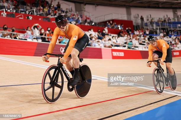 Harrie Lavreysen of Team Netherlands celebrates winning a gold medal during the Men's sprint finals, decider results of the track cycling on day...