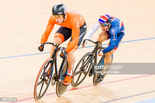 Harrie Lavreysen of the Netherlands and Ryan Owens of Great Britain compete on the Men's Sprint Semifinals - 2nd Race during 2017 UCI World Cycling...
