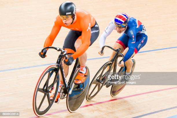 Harrie Lavreysen of the Netherlands and Ryan Owens of Great Britain compete on the Men's Sprint Semifinals 2nd Race during 2017 UCI World Cycling on...