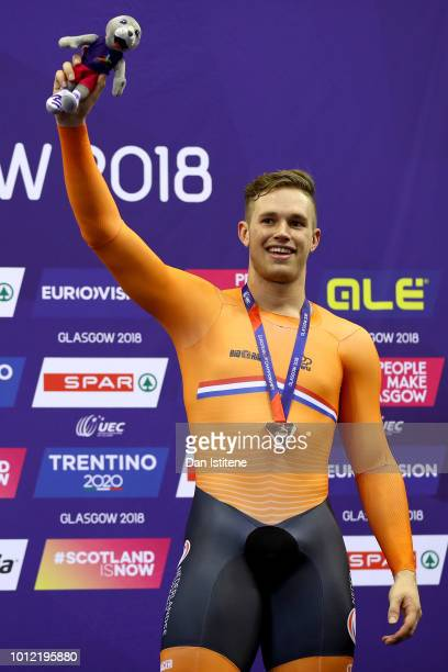 Harrie Lavreysen of the Netherlands celebrates winning the Bronze medal in the Men's Sprint Final during the track cycling on Day five of the...