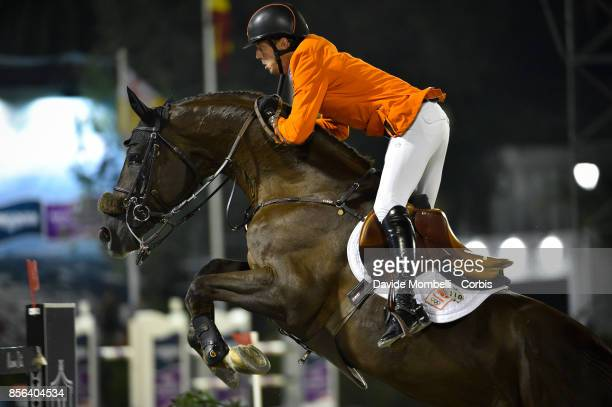 Harrie Smolders for Holland riding Don VHP Z during the Longines FEI Nations Cup Jumping Final Final Competition at CSIO Barcelona in the Olympic...