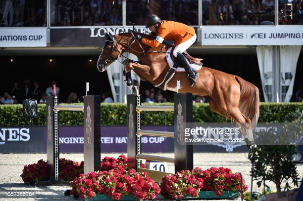 Harrie Smolders for Holland riding Emerald NOP during Longines FEI Jumping Nations Cup Final Competition on October 7 2018 in Barcelona Spain