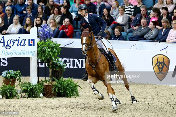 Harrie Smolders of Netherlands rides Emerald NOP during the Longines FEI World Cup Final Jumping at Scandinavium on March 28 2016 in Gothenburg Sweden