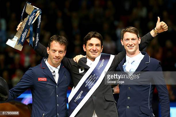 Harrie Smolders of Netherlands Steve Guerdat of Switzerland and Daniel Deusser of Germany during the Longines FEI World Cup Final Jumping at...