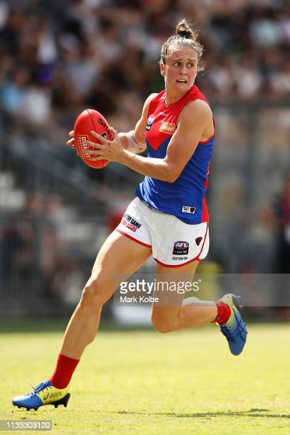 Harriet Cordner of the Demons runs with the ball during the round five AFLW match between the Greater Western Sydney Giants and the Melbourne Demons...