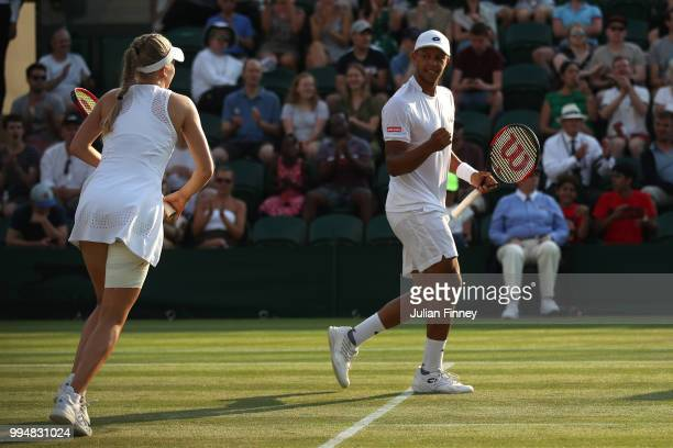 Harriet Dart and Jay Clarke of Great Britain celebrate a point during their Mixed Doubles second round match against Max Mirnyi of Belarus and Kveta...