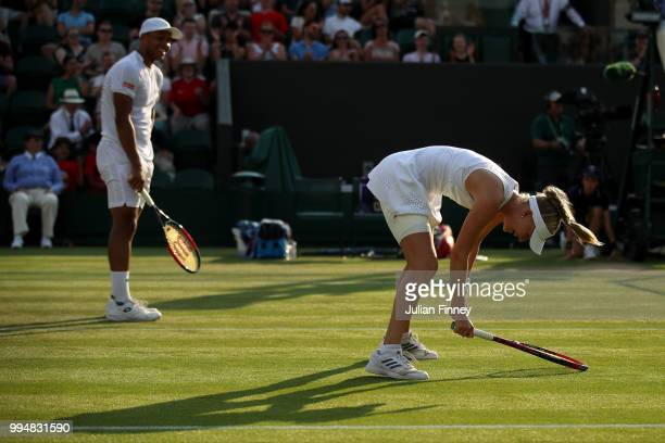 Harriet Dart and Jay Clarke of Great Britain react during their Mixed Doubles second round match against Max Mirnyi of Belarus and Kveta Peschke of...