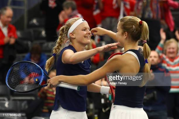 Harriet Dart and Katie Swan of Great Britain celebrates following their victory in their round robin doubles match against Dalila Jakupovic and Kaja...