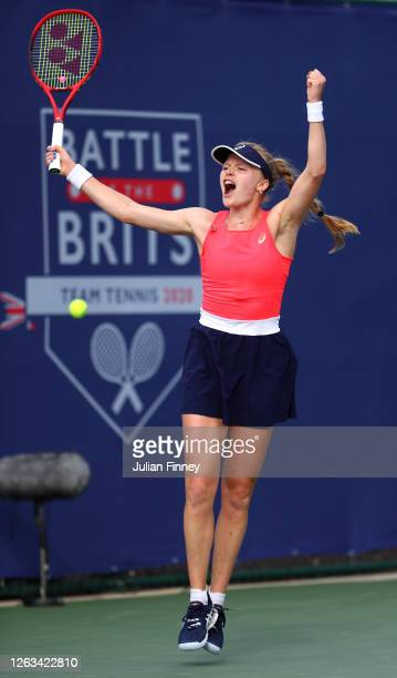Harriet Dart of British Bulldogs celebrates in her singles match against Jodie Burrage of Union Jacks during day seven of the St James's Place Battle...