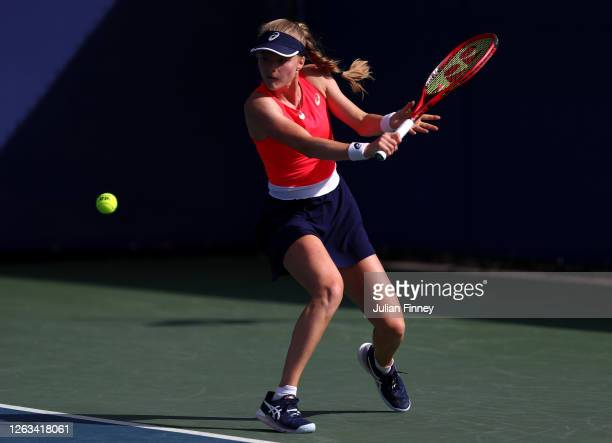 Harriet Dart of British Bulldogs plays a backhand in her singles match against Jodie Burrage of Union Jacks during day seven of the St James's Place...