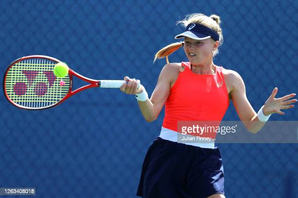 Harriet Dart of British Bulldogs plays a forehand in her singles match against Jodie Burrage of Union Jacks during day seven of the St James's Place...