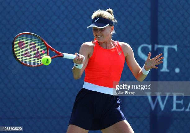 Harriet Dart of British Bulldogs plays a forehandin her singles match against Jodie Burrage of Union Jacks during day seven of the St James's Place...