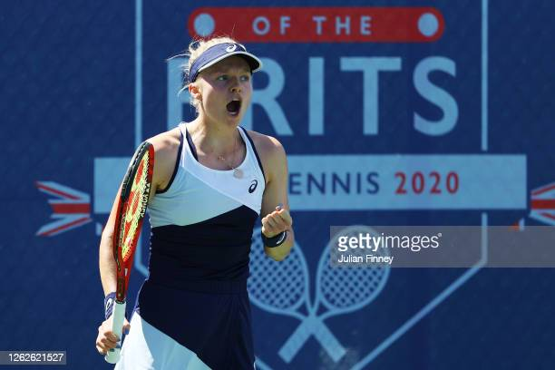 Harriet Dart of British Bulldogs reacts during her match against Jodie Burrage of Union Jacks during day four of the St James's Place Battle Of The...