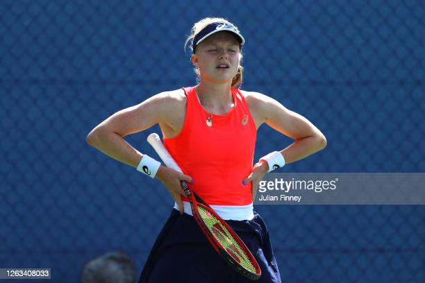 Harriet Dart of British Bulldogs reacts in her singles match against Jodie Burrage of Union Jacks during day seven of the St James's Place Battle Of...