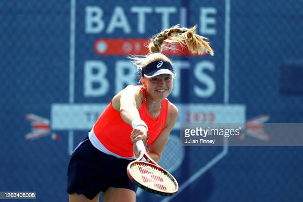 Harriet Dart of British Bulldogs serves in her singles match against Jodie Burrage of Union Jacks during day seven of the St James's Place Battle Of...
