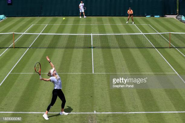 Harriet Dart of Great Britain in a practice session with Heather Watson during the Viking Classic Birmingham at Edgbaston Priory Club on June 13,...