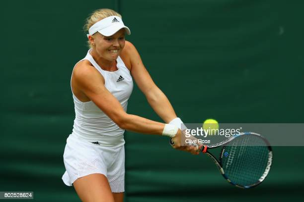Harriet Dart of Great Britain in action during her singles qualifying match against Cagla Buyukakcay of Turkey during the 2017 Wimbledon qualifying...