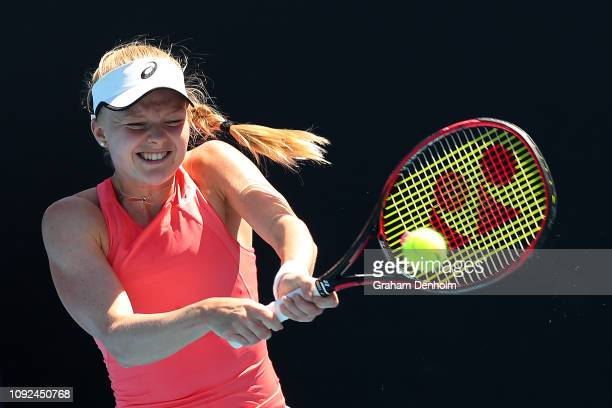 Harriet Dart of Great Britain plays a backhand in her match against Ivana Jorovic of Serbia during Qualifying ahead of the 2019 Australian Open at...