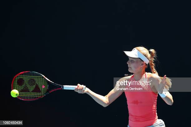Harriet Dart of Great Britain plays a forehand in her match against Ivana Jorovic of Serbia during Qualifying ahead of the 2019 Australian Open at...