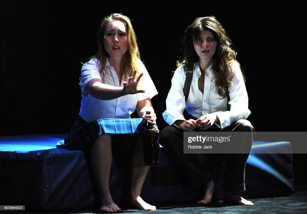Harriet Gordon-Anderson and Amber McMahon in Malthouse Theatre / Black Swan State Theatre's production of Joan Lindsay's Picnic at Hanging Rock directed by Matthew Lutton at The Barbican on February 21, 2018 in London, England.