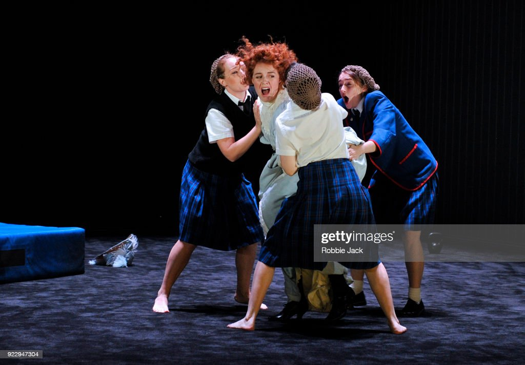 Harriet Gordon-Anderson, Nikki Shiels,Arielle Gray and Elizabeth Nabben in Malthouse Theatre / Black Swan State Theatre's production of Joan Lindsay's Picnic at Hanging Rock directed by Matthew Lutton at The Barbican on February 21, 2018 in London, England.