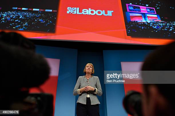 Harriet Harman talks to delegates during her tribute on the first day of the Labour Party Autumn Conference on September 27 2015 in Brighton England...