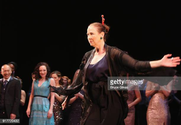 Harriet Harris takes the curtain call at the 'Thoroughly Modern Millie' 15th Anniversary Reunion Concert at The Minskoff Theater on February 12 2018...