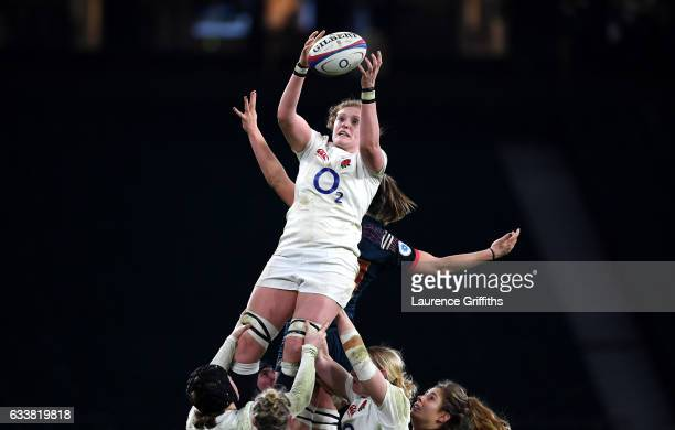 Harriet MillarMills of England collects a line in throw during the Women's Six Nations match between England and France at Twickenham Stadium on...