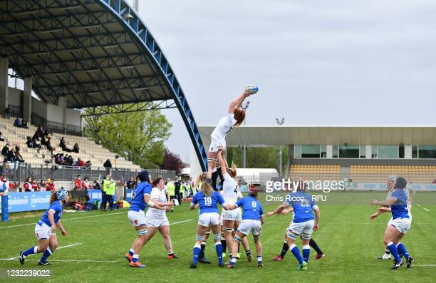 Harriet Millar-Mills of England collects the lineout ball during the Women's Six Nations match between Italy and England at Stadio Sergio Lanfranchi...