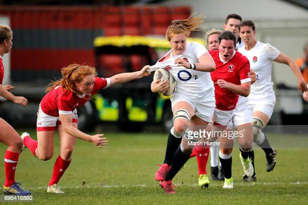 Harriet MillarMills of England makes a break during the Women's International Test match between Canada and the England Roses at Rugby Park on June...