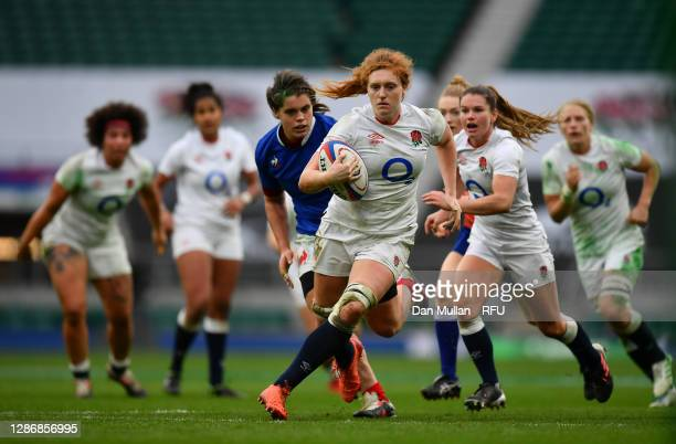 Harriet Millar-Mills of England on the charge during the Autumn International match between England Women and France Women at Twickenham Stadium on...